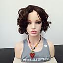 halpa Synteettiset peruukit verkolla-Synteettiset peruukit Kihara Sivuosa Synteettiset hiukset Heat Resistant / Bangsin kanssa Tummanruskea Peruukki Naisten Mid length Suojuksettomat / Kyllä