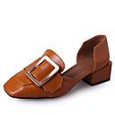 ieftine Sandale de Damă-Pentru femei PU Primăvară Confortabili Mocasini & Balerini Toc Îndesat Vârf pătrat Negru / Bej / Camel