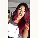cheap Human Hair Wigs-Unprocessed Human Hair Full Lace Wig Brazilian Hair Straight Burgundy Wig Middle Part 130% Ombre Hair / Dark Roots Burgundy Women's Mid Length Human Hair Lace Wig