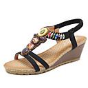 ieftine Sandale de Damă-Pentru femei Pantofi Microfibră PU sintetică Primăvară / Vară Noutăți Sandale Toc Platformă Vârf rotund Piatră Semiprețioasă Negru /