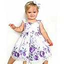 preiswerte Kleider für Mädchen-Baby Mädchen Aktiv Süß Alltag Festtage Blumen Rüsche Druck Ärmellos Übers Knie Baumwolle Polyester Kleid Purpur