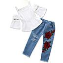 tanie Zestawy ubrań dla dziewczynek-Brzdąc Dla dziewczynek Aktywny Urlop Kwiaty Bez rękawów Bawełna Komplet odzieży / Urocza