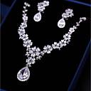 tanie Zestawy biżuterii-Damskie Cyrkonia Biżuteria Ustaw - Kwiat Moda, Elegancja Zawierać Kolczyki drop Naszyjniki z wisiorkami Biały Na Ślub Zaręczynowy
