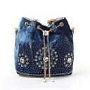 cheap Bag Sets-Women's Bags PU Leather / Denim Shoulder Bag Beading / Crystals Gold / Silver