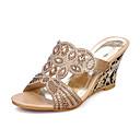 baratos Sapatos de Salto-Mulheres Sapatos Glitter Verão Chanel Sandálias Salto Plataforma Peep Toe Gliter com Brilho Dourado / Verde / Festas & Noite