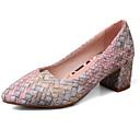 זול נעלי עקב לנשים-בגדי ריקוד נשים PU סתיו נוחות / בלרינה בייסיק עקבים עקב עבה חום / אדום / ורוד