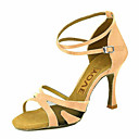 cheap Ballroom Dance Wear-Women's Latin Shoes / Salsa Shoes Satin / Silk Sandal / Heel Buckle / Ribbon Tie Customized Heel Customizable Dance Shoes Yellow /