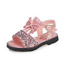 ieftine Pantofi Fetițe-Fete Pantofi PU Vară Confortabili / Pantofi Fata cu Flori Sandale Plimbare Funde / Paiete / Bandă Magică pentru Copii Auriu / Argintiu /