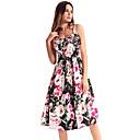 preiswerte Parykopfbedeckungen-Damen Boho Swing Kleid - Druck, Blumen Knielang