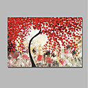 cheap Abstract Paintings-Oil Painting Hand Painted - Abstract / Floral / Botanical Comtemporary / Modern Canvas