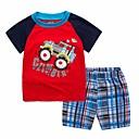 cheap Boys' Clothing Sets-Toddler Boys' Black & Red Print / Color Block Short Sleeve Clothing Set