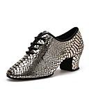 זול נעליים מודרניות-בגדי ריקוד נשים נעליים מודרניות עור עקבים עקב נמוך מותאם אישית נעלי ריקוד זהב / הצגה