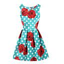 preiswerte Damen Sandalen-Damen Skater Kleid Punkt Blumen Übers Knie