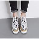 olcso Női Oxford cipők-Női Cipő Bőrutánzat Tavasz Kényelmes Félcipők Ék sarkú Szögletes orrú Fekete / Ezüst / Világosbarna