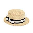 abordables Accesorios Lolita-Mujer Lazo, Lino Sombrero de Paja / Sombrero para el sol - Vintage / Vacaciones Houndstooth / Primavera / Verano