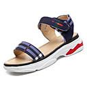 זול מגפי נשים-בגדי ריקוד נשים PU קיץ נוחות סנדלים עקב נמוך בוהן עגולה כחול / חאקי