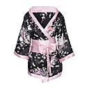 abordables Muñecas reborn-Mujer Sexy Kimono Ropa de dormir - Estampado Floral Negro Rojo XL XXL XXXL / Escote en Pico / Tallas Grandes