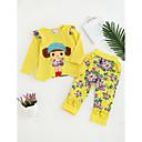 זול סטים של ביגוד לבנות-סט של בגדים כותנה כל העונות שרוול ארוך יומי ליציאה אנימציה בנות חמוד יום יומי פעיל ורוד מסמיק צהוב פוקסיה