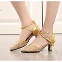 cheap Modern Shoes-Women's Modern Shoes Lace Heel Chunky Heel Dance Shoes Gold / Black / Silver / Performance / Practice