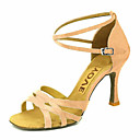 cheap Latin Shoes-Women's Latin Shoes / Salsa Shoes Satin Sandal / Heel Buckle / Ribbon Tie Customized Heel Customizable Dance Shoes Bronze / Almond / Nude / Performance / Leather / Professional