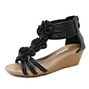 cheap Women's Boots-Women's Shoes Synthetic Microfiber PU Summer Novelty Sandals Wedge Heel Round Toe Satin Flower Black / Almond