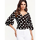 cheap Earrings-Women's Street chic Shirt - Polka Dot V Neck