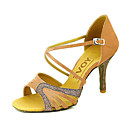 cheap Other Parts-Women's Latin Shoes / Ballroom Shoes / Salsa Shoes Satin / Leatherette Sandal Buckle Customized Heel Customizable Dance Shoes Yellow /