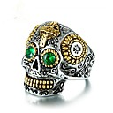 billiga Herringar-Kubisk Zirkoniumoxid geometriska Bandring Döskalle Calaveras Vintage Moderingar Smycken Grön Till Party Gåva 8 / 9 / 10 / 11 / 12