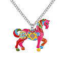 baratos Marionetes-Colares com Pendentes - Cavalo, Animal senhoras, Europeu, Fashion Dourado, Prata 62 cm Colar Jóias Para Diário