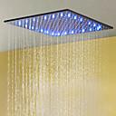 abordables Grifos de Bañera-Cabezal de ducha de efecto lluvia mate de 20 pulgadas mate negro mate / montado en el techo / acero inoxidable sus 304 / moderno / con temperatura sensible 3 colores de led
