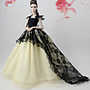 זול אביזרים לבובות-שמלות שמלה ל ברבי דול שחור לבן תחרה / תערובת משי\ כותנה שמלה ל הילדה של בובת צעצוע