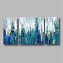 billige Landskabsmalerier-Hang-Painted Oliemaleri Hånd malede - Abstrakt / Landskab Moderne Omfatter indre ramme / Tre Paneler / Stretched Canvas