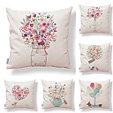 cheap Pillow Covers-6 pcs Textile / Cotton / Linen Pillow case, Floral / Art Deco / Printing Modern Style / Square Shaped