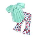 tanie Zestawy ubrań dla dziewczynek-Brzdąc Dla dziewczynek Aktywny / Boho Jendolity kolor / Nadruk Zebrany / Nadruk Krótki rękaw Bawełna Komplet odzieży
