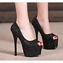 זול נעלי עקב לנשים-בגדי ריקוד נשים נעליים PU אביב בלרינה בייסיק עקבים עקב סטילטו שחור / כסף