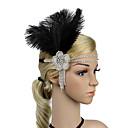 tanie Kostiumy ze starego świata-Gatsby Vintage Lata 20. Kostium Damskie Opaska w stylu lat 20-tych Czapki Czarny / Biały Postarzane Cosplay Pióro