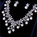 abordables Tocados de Fiesta-Mujer Zirconia Cúbica Conjunto de joyas - Flor Moda Incluir Pendientes colgantes / Collares con colgantes Blanco Para Boda / Fiesta