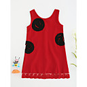cheap Girls' Dresses-Toddler Girls' Floral Solid Colored Sleeveless Polyester Dress Red