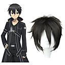 cheap Videogame Costumes-SAO Alicization Kirito Men's 12 inch Heat Resistant Fiber Black Anime Cosplay Wigs