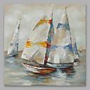 tanie Obrazy olejne-Hang-Malowane obraz olejny Ręcznie malowane - Abstrakcja Nowoczesny Naciągnięte płótka / Rozciągnięte płótno
