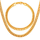cheap Bracelets-Men's Link / Chain / Herringbone Jewelry Set - Gold Plated, Rose Gold Plated Twist Circle Fashion Include Chain Bracelet / Chain Necklace Gold For Daily