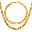 זול שרשראות לגברים-בגדי ריקוד גברים תגובת שרשרת / שרשרת האדרה סט תכשיטים - ציפוי זהב, משובץ זהב ורוד מעגל טוויסט אופנתי לִכלוֹל שרשרת וצמידים / שרשרת זהב עבור יומי
