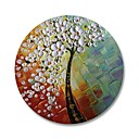 cheap Oil Paintings-STYLEDECOR® Modern Hand Painted White Flower Tree with Round Frame Oil Painting Wall Art On Wrapped Canvas