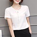 baratos Botas Femininas-blusa feminina - decote redondo em cor sólida