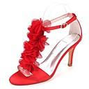 זול מגפי נשים-בגדי ריקוד נשים נעליים סטן אביב קיץ בלרינה בייסיק נעלי חתונה עקב סטילטו פתוח בבוהן פרח סאטן אדום / חום בהיר / קריסטל / מסיבה וערב