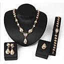 cheap Jewelry Sets-Women's Geometric Jewelry Set - Gold Plated Sweet, Fashion Include Chain Bracelet Stud Earrings Pendant Necklace Gold For Wedding Evening Party / Ring