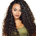 olcso Emberi hajból készült parókák-Remy haj Csipke eleje Paróka Brazil haj Hullámos Paróka Réteges frizura 150% Baba hajjal / Fekete hölgyeknek Fekete Női Rövid / Hosszú / Közepes hosszúságú Emberi hajból készült parókák