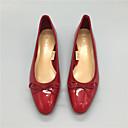 זול נעלי עקב לנשים-בגדי ריקוד נשים PU קיץ נוחות שטוחות עקב נמוך אדום / כחול / שקד