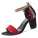 baratos Sandálias Femininas-Mulheres Sapatos Couro Ecológico Verão Plataforma Básica Sandálias Salto Robusto Presilha Preto / Vermelho / Verde
