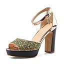 preiswerte Damen Sandalen-Damen Schuhe Glanz / maßgeschneiderte Werkstoffe Frühling Sommer Komfort Sandalen Blockabsatz Peep Toe Gold / Blau / Rosa
